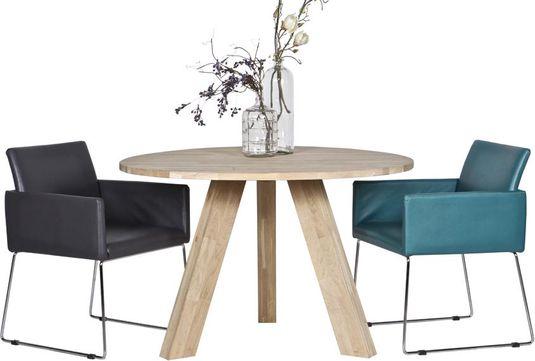Woood Tafel Rond : Woood eettafel rhonda rond cm eikenhout designwonen